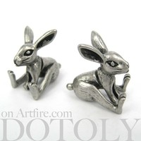 3D Fake Gauge Realistic Bunny Rabbit Animal Stud Earrings
