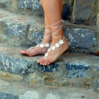 White Floral Barefoot Sandals, Wedding Barefoot, Crochet Sandles, Nude Shoes, Foot Decoration, Yoga, Foot Jewelry, Foot thongs,