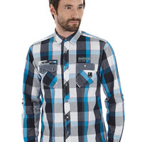 Dissident Blue, Black & White Check Shirt - Mens Shirts £20 Or Less - Mens Offers - Sale & Offers
