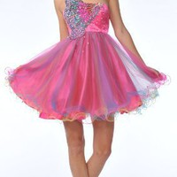 Zeilei 5871 One Shoulder Butterfly Sweet 16 Short Prom Dress
