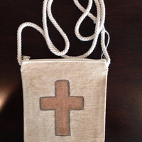 Hand Painted Cross Purse on a String