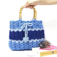 On Sale, Crochet bag, Shoulder bag, Blue Bag, Striped bag, Crochet Purse, Handmade, Spring bag, 2014 Spring Summer, Net Bag, Wooden handle,