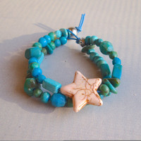 Star Beaded Turquoise Wax Cord Bracelet MEASURE