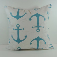 Aqua Blue Anchor Decorative Pillow Cover, Nautical, Beach Cushion, 20 x 20