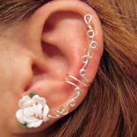 "Prom Ear Cuff ""Spring Rose"" Cartilage Cuff No Piercing Wedding Bridal No Piercing Helix Conch Color Choices"