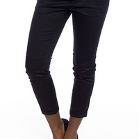 Step Out in Style Belted Twill Capri Pants - Black