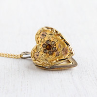 Vintage Art Deco Floral Heart Locket Necklace - Gold Filled 1930s 1940s Sweetheart Rhinestone Jewelry
