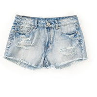 High-Rise Light Wash Destroyed Shorty Shorts