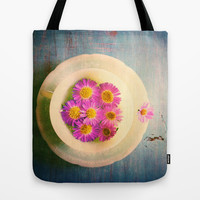 Spring Flowers on Vintage Table Tote Bag by Olivia Joy StClaire