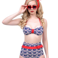 Red & Navy Heart Swirl Trixie Bikini Top