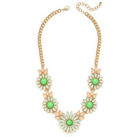 Chartreuse Daisy Chain Necklace