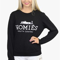 "Black Sweatshirt w/Fashion Meme ""HOMIES South Central"""