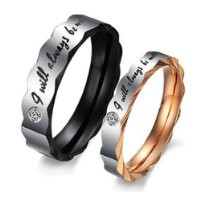 "KONOV Jewelry Stainless Steel Love ""I Will Always Be with You"" Couples Promise Ring Mens Womens Wedding Bands"