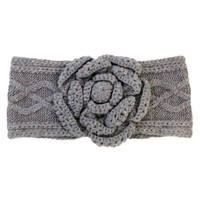 Mud Pie Cable Knit Flower Ear Warmer Grey
