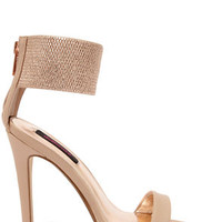 Dollhouse Puruse Blush Metallic Single Strap Heels