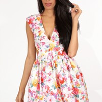 Floral Denim Dress - Kely Clothing