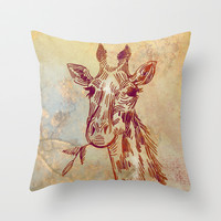 giraffe Throw Pillow by Marianna Tankelevich