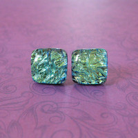 Dichroic Yellow Studs, Hypoallergenic Earrings, Fashion Earring Jewelry, Evening Jewelry - Gabby - 2290 -4
