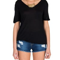 Oversized Single Pocket Tee - Black