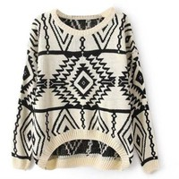 niceeshop(TM) Women's Long Sleeve Geometric Pullovers Knit Sweater Loose Outerwear