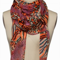 NEON MIXED ANIMAL SCARF