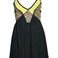 Black V-Neck Party Dress with Gold Sequins
