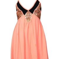 Coral V-Neck Party Dress with Gold Sequins