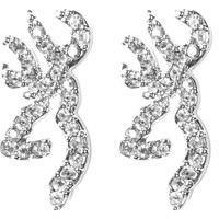 Browning Buckmark Clear Bling Earrings