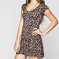 Full Tilt Ditsy Floral Print Babydoll Dress Black Combo  In Sizes