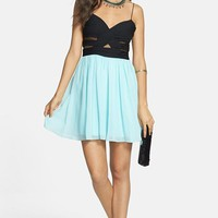 Hailey Logan Mesh Inset Chiffon Skater Dress (Juniors) (Online Only) | Nordstrom