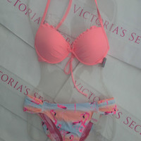 New Sexy Victoria's Secret Flamingo Print Fabulous Bandeau Bikini Set 32B XS