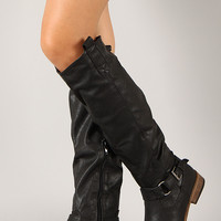 Bamboo Parksville-22 Buckle Round Toe Riding Knee High Boot
