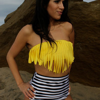 Stripes retro fringe bathing suit