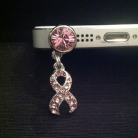 Breast Cancer Pink Ribbon Charm Cell Phone Dust Plug Rhinestone Mobile phone