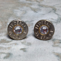 Bullet earrings 38 Special Swarovski crystal Clear - US Seller