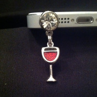 Red Wine Glass Hot Cell Phone Anti Dust Plug White Rhinestone mobile phone