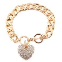 Gold with Clear Iced Out Heart 8.5 Inch Cuban Link 12mm Toggle Bracelet