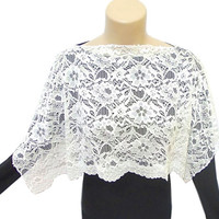 Lace Shawl, Bolero, Lace Capelet, Scarf, White, Wedding, Bridal, ON SALE, Lace Bolero, Prom dress, Free Shipping, Costume Design, Wrap