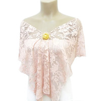 Shawl, Pink Shawl, Lace Scarf, Lace Shawl, Victorian Shawl, On Sale, Feminine, Brooch, Powder Pink, Free Shipping, Wrap, French Lace Shawl