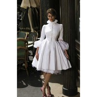 Elegant Ball Gown Taffeta 3/4 Length Sleeves Knee Length Wedding Dress