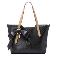 Bowknot Quilted Large Purse Tote Shoulder Bag Handbag