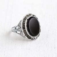 Vintage Art Deco Onyx Black Glass & Rhinestone Ring - Size 6 Filigree 1930s Halo Costume Jewelry