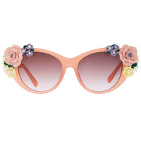 ROMWE Floral Embellished Pink Elliptical Sunglasses(Arrival until Feb.28th)