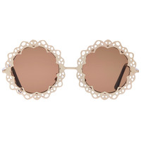ROMWE Gold Floral Hollow Out Frame Sunglasses(Arrival until Feb.28th)