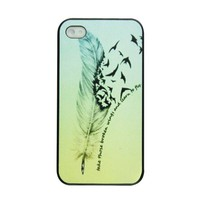 Voberry Hipster Feather Quote Fly Ombre Birds Plastic Case Cover for Apple iPhone 4 4S