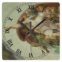 Michelangelo Genesis Creation of Man Clock II
