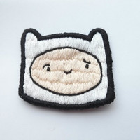 Finn Embroidered Patch - Adventure Time Brooch Applique Gift