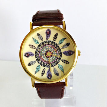 Dream Catcher Watch, Vintage Style Leather Watch, Women Watches, Unisex Watch, Boyfriend Watch, Tan