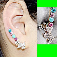 Jeweled Puppy Long Clip Ear Pin Asymmetric Set (2 Pieces)