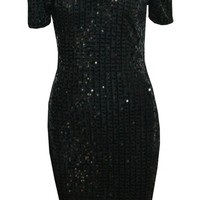 Black Sequin Off the Shoulder Party Dress